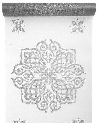 Tischband Tischläufer orientalisch weiß / silber 28 cm x 5,00 m