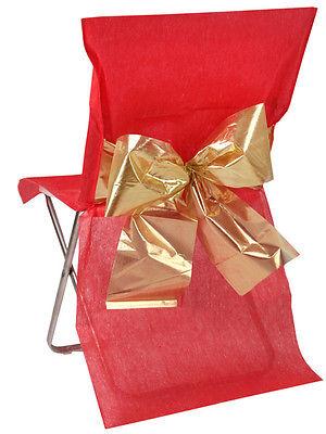 4 Stuhlhussen Einweg Rot mit goldener Schleife