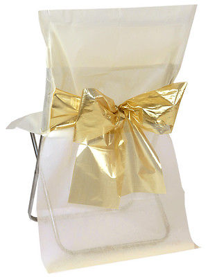 4 Stuhlhussen Einweg Creme mit goldener Schleife