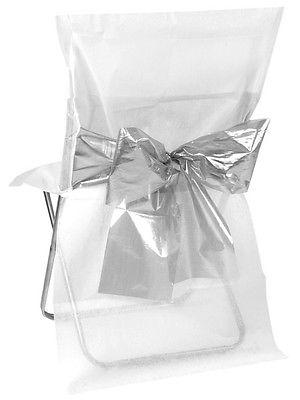 4 Stuhlhussen Einweg Weiß mit silberner Schleife