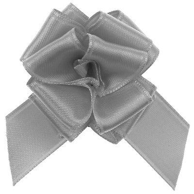 Geschenke Schleife pull bow (Aufzieh Schleife) grau 5 Stück 15 cm