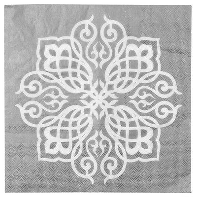 Party Servietten orientalisch silber weiß