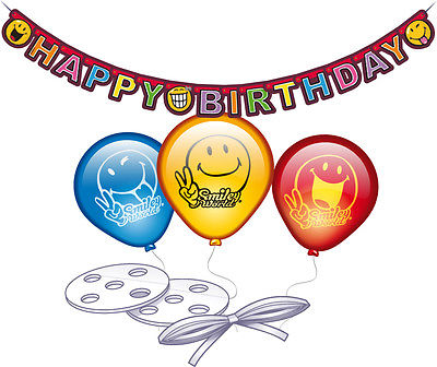 Luftballon Girlande Happy Birthday Smiley Comic